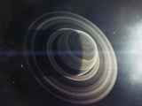 Light from a Nearby Star Illuminates a Massive Ringed Gas Giant