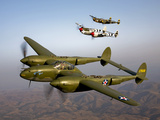 Three Lockheed P-38 Lightnings in Flight