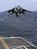 An AV-8B Harrier II Prepares to Land on the Flight Deck of USS Nassau