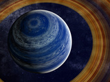 A Ringed Blue Gas Giant with Shepherd Moon in the Rings