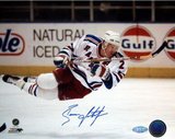 Brian Leetch In Air Autographed Photo (Hand Signed Collectable)
