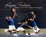 Roger Federer Autographed Three-Time U.S. Open Champion Collage Photograph