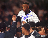 Doc Gooden Autographed Yankees No Hitter Carry Off Horizontal Photograph - Signed In Blue