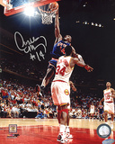 Anthony Mason Slam Dunk Over Hakeem Olajuwon Autographed Photo (Hand Signed Collectable)