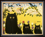 Three Black Cats Framed Art Print