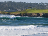 Pebble Beach Golf Course and Large Waves at Carmel Beach City Park