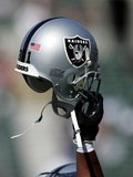 49ERS RAIDERS FOOTBALL: OAKLAND, CALIFORNIA - An Oakland Raiders Helmet