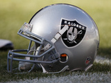 Raiders Broncos Football: Denver, CO - Oakland Raiders helmet