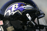 Ravens Raiders Football: Oakland, CA - A Baltimore Ravens Helmet