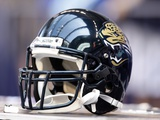 Jaguars Colts Football: Indianapolis, IN - A Jacksonville Jaguars Helmet