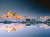 Aiguilles de Chamonix and and Mont Blanc reflected in Lac Blanc at sunset