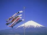 Japan: Mount Fuji and windsocks