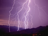 Lightning Strikes in the Foothills near Tucson