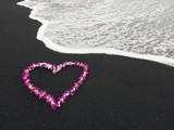 Heart Shaped Lei on Black Sand Beach