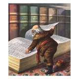 Illustration of Santa Claus Checking His List of Good Children Gicl�e-Druck