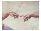 Hands of God and Adam, detail from The Creation of Adam, from the Sistine Ceiling, 1511 / Michelang