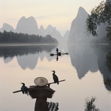 Cormorant fishermen in Li River Photographic Print