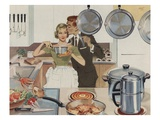 Magazine Illustration of Husband Kissing Wife in Kitchen