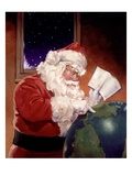 Santa Claus And Globe Gicl�e-Druck