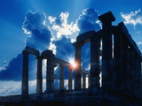 Sun Behind Temple of Poseidon