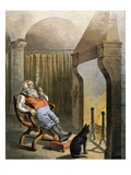 Illustration of Santa Claus sitting by fire on Christmas Eve by William Roger Snow
