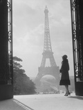 Moody Silhouetted Woman Paris Standing in Trocadero Looking Toward Eiffel Tower Photographic Print
