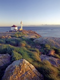 Trial Island Lighthouse with the Strait of Juan De Fuca in Background, Victoria, British Columbia,