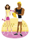 Woman Flirting with Personal Trainer