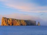 Fog on Roche Perce on Gaspe Peninsula