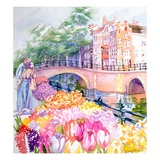 Couple And Tulips By Canal With Bridge Giclee Print