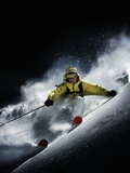 Night skiier on Les Arcs  French Alps Photographic Print