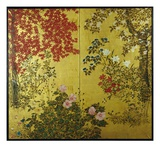 Japanese Screen with Trees and Flowering Plants