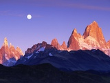 Moon Over Mount Torre and Mount Fitz Roy Peaks