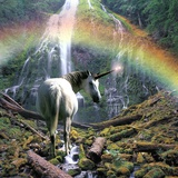 Unicorn Walking Towards Waterfall