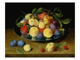 Plums and Peaches on a Pewter Plate by Jacob van Hulsdonck
