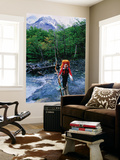 Hiker Crossing Rio Brian on Paine Circuit Trekking Route Laminated Oversized Art