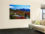 Trekkers Walking Through Autumnal Foliage Towards Monte Fitz Roy Laminated Oversized Art