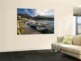 Boats Moored in Plakias Harbour Laminated Oversized Art