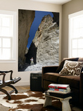 Hiker Beneath the Sheer Rock Walls of Samaria Gorge Laminated Oversized Art