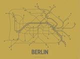 Plan de Berlin, Allemagne : gris acier sur ocre - réseau de transports