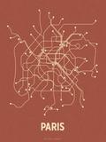Plan de Paris, France : beige sur fond rouge brique - réseau de transports