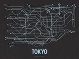 Plan de Tokyo, Japon : bleu pâle sur noir réglisse - réseau de transports
