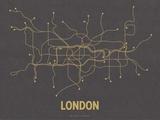 Plan de Londres, Grande-Bretagne : jaune moutarde sur gris sombre - réseau de transports