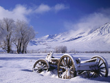 Old Snow-Covered Wagon in the Owens Valley, Bishop, California, Usa