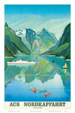 HAPAG Cruise Line: Nordkapfahrt - North Cape and Norwegian Fjords, c.1957 Art Print