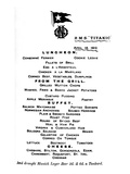 Luncheon Menu for April 14Th, 1912 from the 2nd Class Restaurant Aboard White Star Liner.