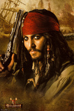 Pirates of the Caribbean 2 Movie Johnny Depp Holding Gun Poster