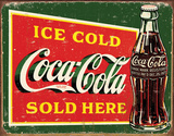Coke  Ice Cold Green Tin Sign