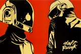 Daft Punk Red Background Music Poster Print