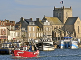 Harbour and Fishing Boats With Houses and Church in the Background, Barfleur, Normandy, France